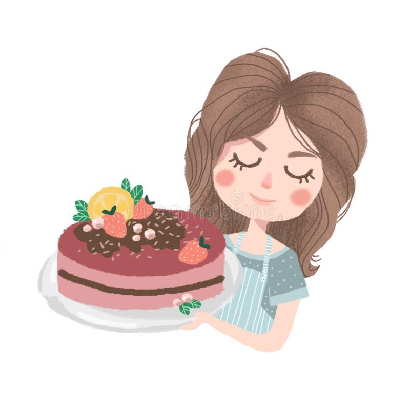 Cozinheiro chefe de pastelaria bonito da menina com bolo ilustração royalty free