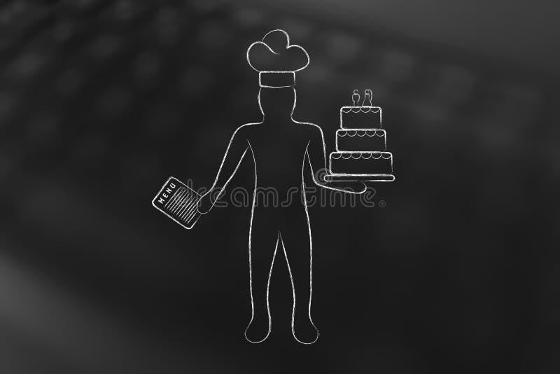 Cozinheiro chefe de pastelaria com o bolo do menu e de casamento ilustração stock