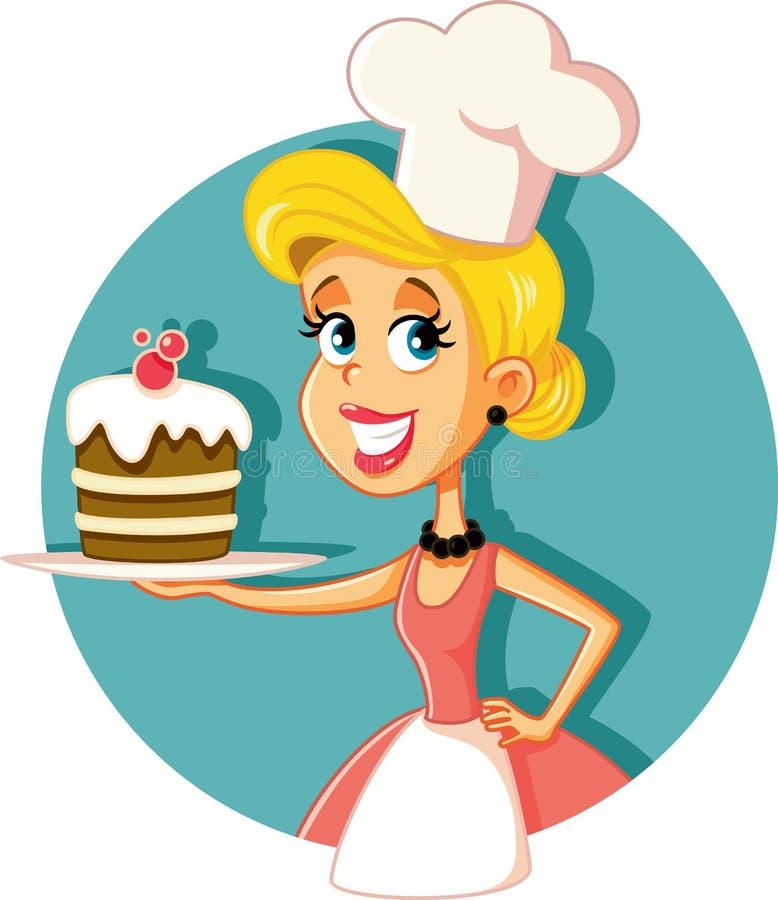 Cozinheiro chefe de pastelaria fêmea Baking uma ilustração do vetor do bolo ilustração stock