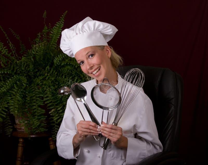 Cozinheiro chefe de sorriso foto de stock