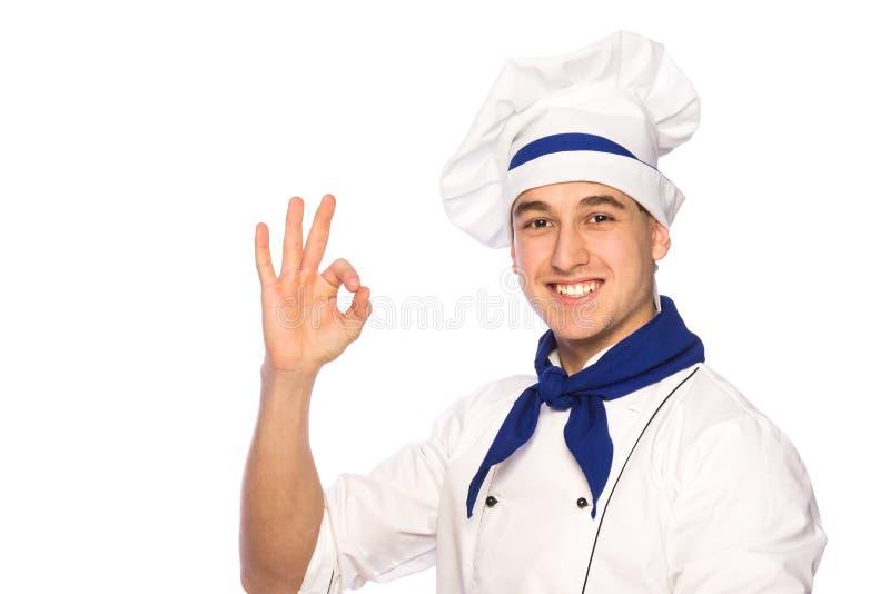 Cozinheiro chefe de sorriso do cozinheiro imagens de stock