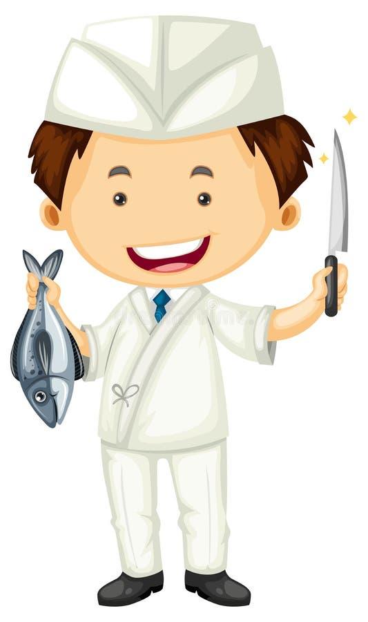 Cozinheiro chefe de sushi com faca afiada e peixes ilustração do vetor