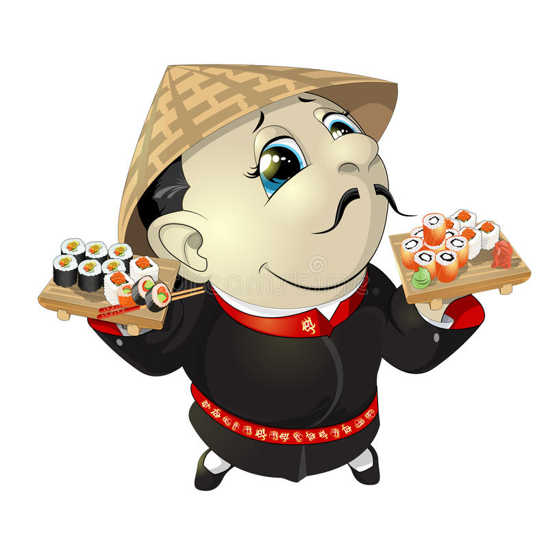 Cozinheiro chefe de sushi no restaurante ilustração stock