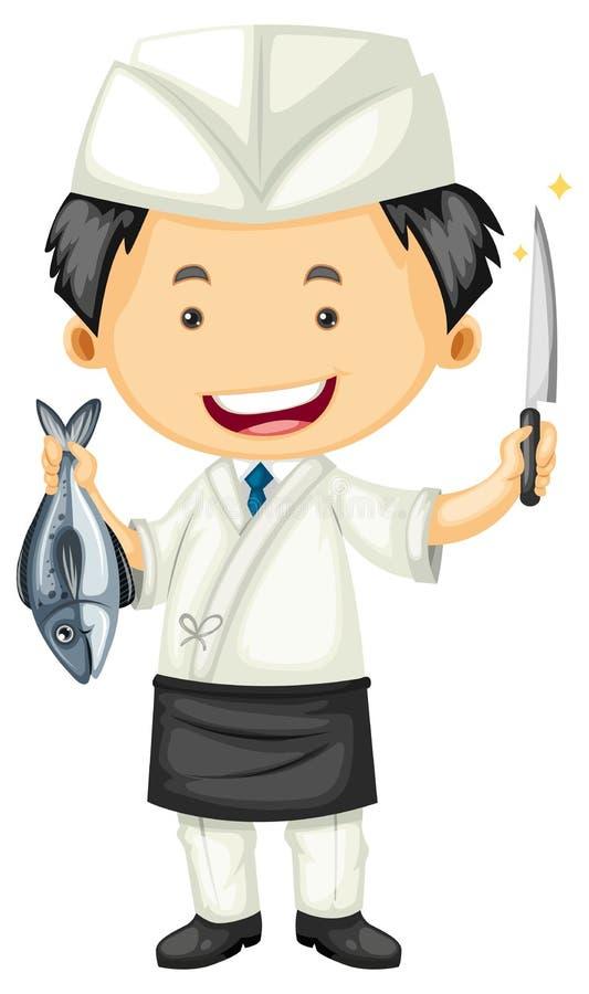 Cozinheiro chefe de sushi que guarda peixes e faca ilustração royalty free