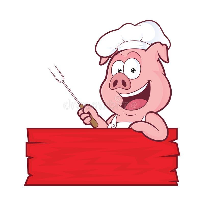 Cozinheiro chefe do BBQ do porco ilustração royalty free