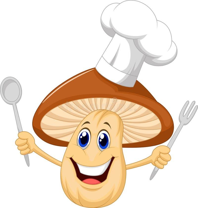 Cozinheiro chefe do cogumelo dos desenhos animados ilustração do vetor