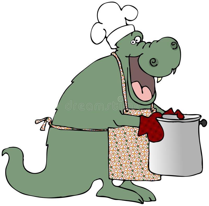 Cozinheiro chefe do dragão ilustração do vetor