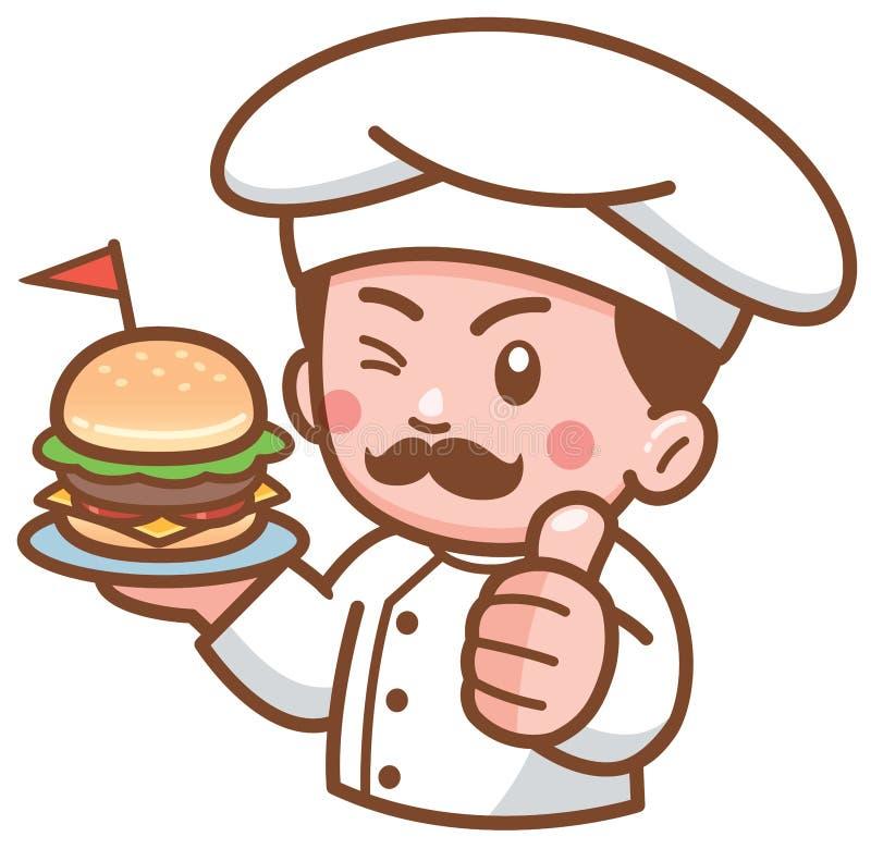 Cozinheiro chefe do hamburguer ilustração do vetor