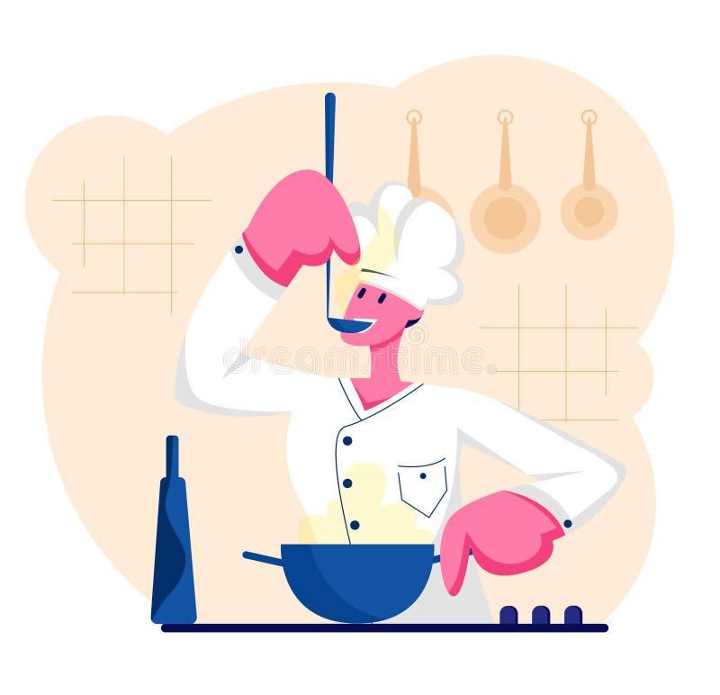 Cozinheiro chefe do homem no uniforme branco e no tampão que provam a sopa deliciosa com a concha na cozinha O fogão profissional ilustração royalty free