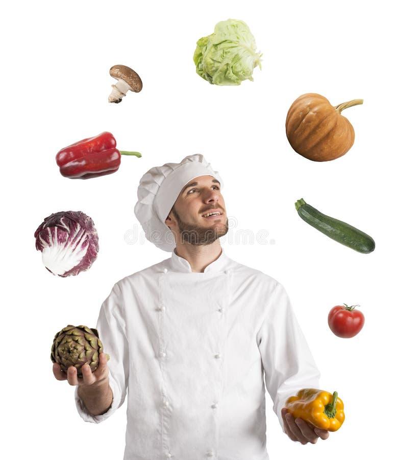 Cozinheiro chefe do Juggler fotos de stock royalty free