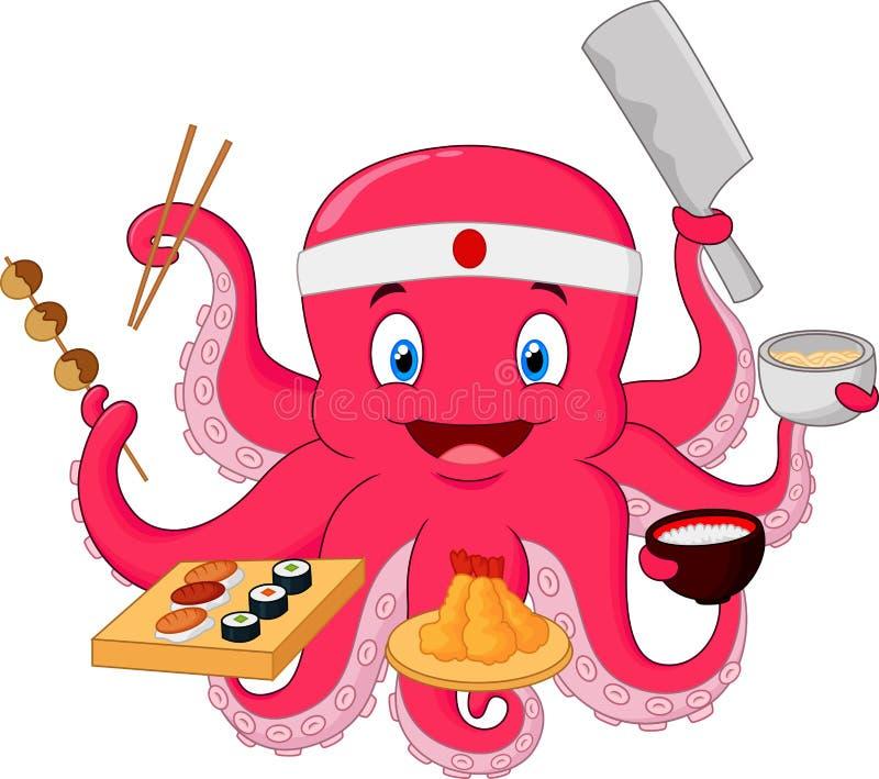 Cozinheiro chefe do polvo dos desenhos animados ilustração do vetor