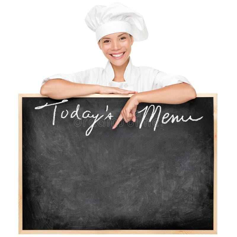 Cozinheiro chefe do sinal do menu imagem de stock