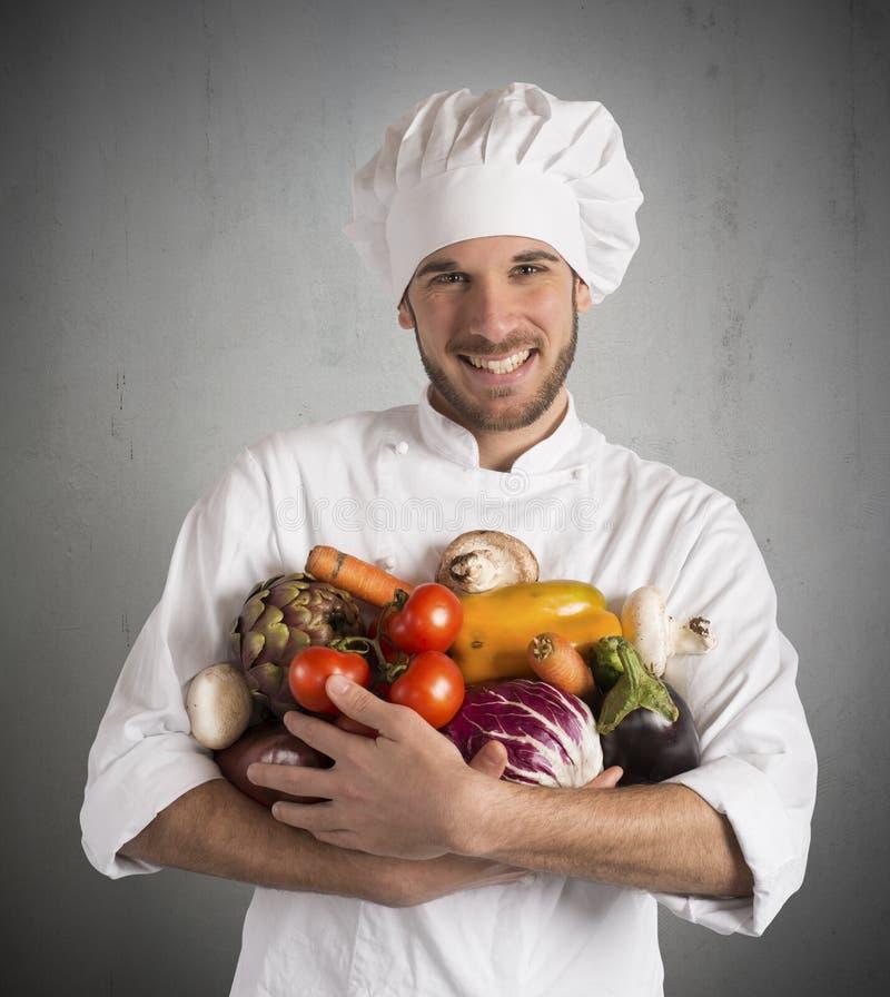 Cozinheiro chefe do vegetariano fotografia de stock