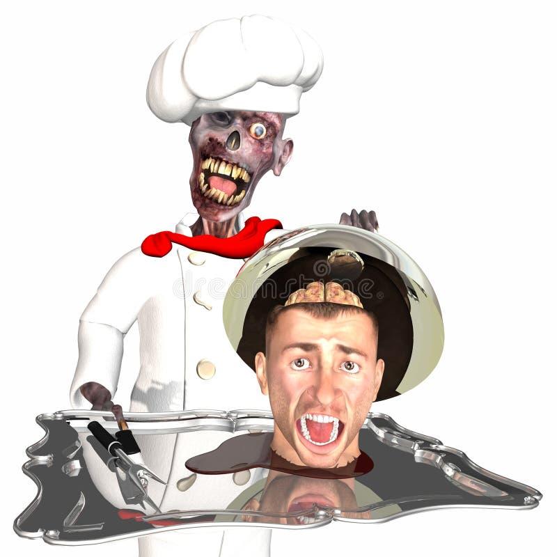 Cozinheiro chefe do zombi ilustração stock