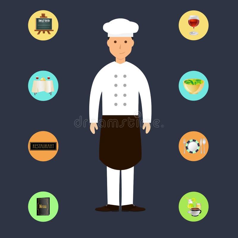 Cozinheiro chefe dos desenhos animados com ícones do restaurante ilustração stock