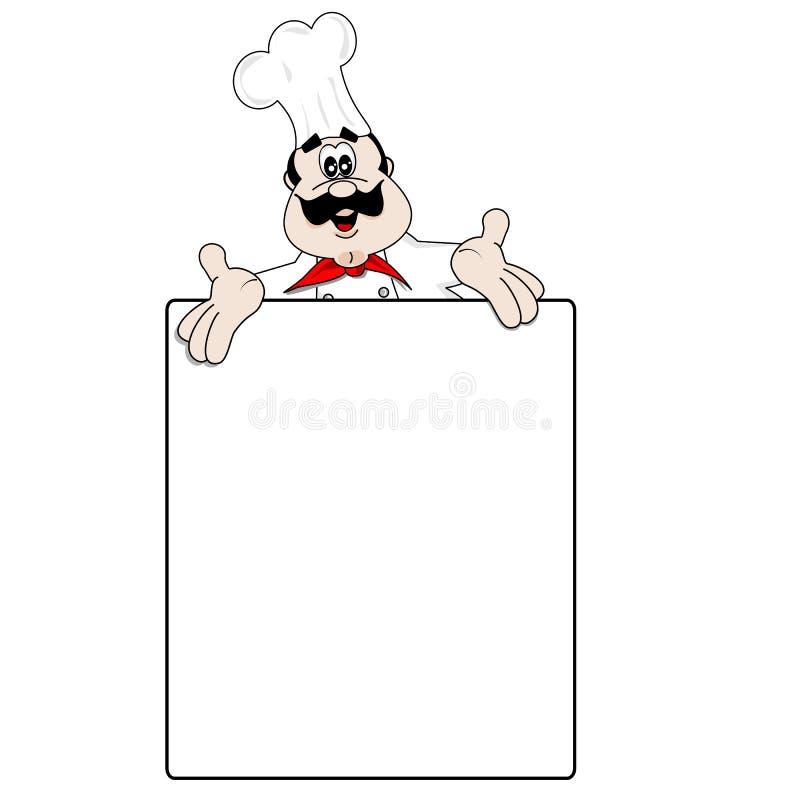 Cozinheiro chefe dos desenhos animados e receita em branco do menu ilustração do vetor