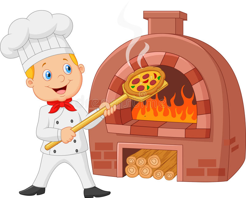 Cozinheiro chefe dos desenhos animados que guarda a pizza quente com forno tradicional