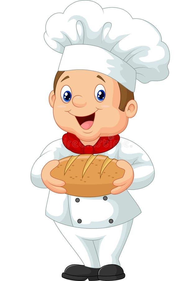 Cozinheiro chefe dos desenhos animados que guarda um naco de pão ilustração royalty free