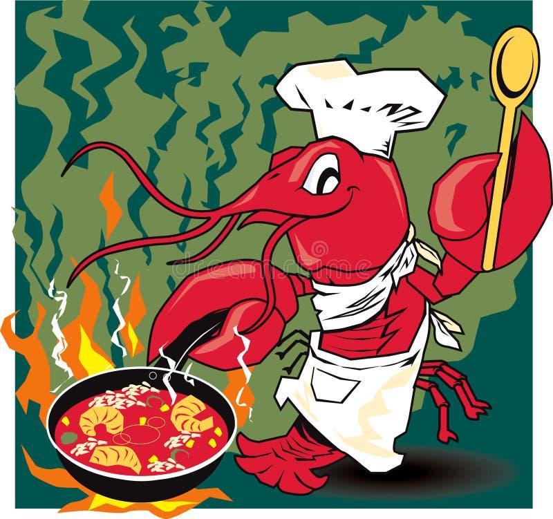 Cozinheiro chefe dos lagostins ilustração stock