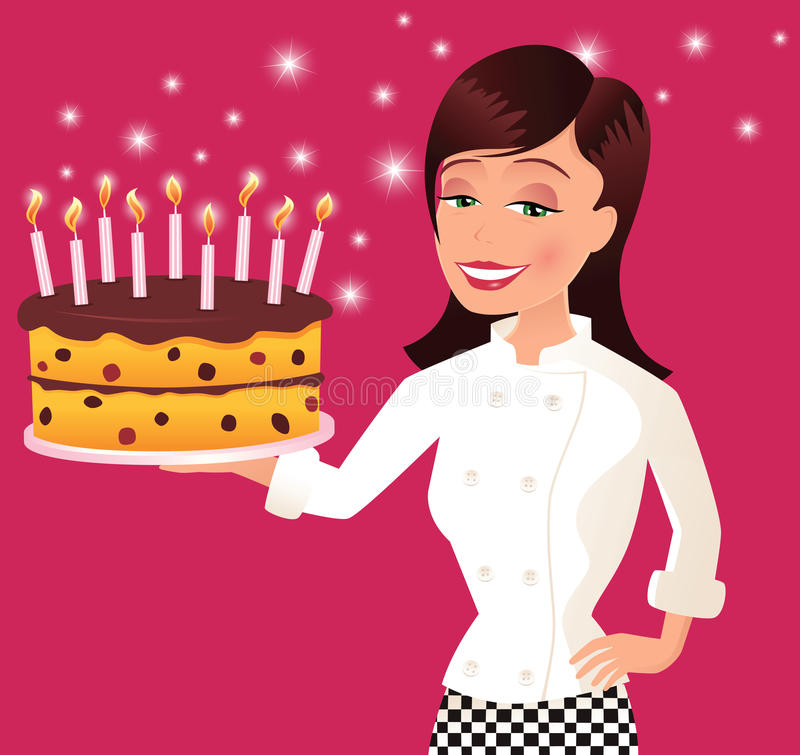 Cozinheiro chefe e bolo de aniversário ilustração do vetor