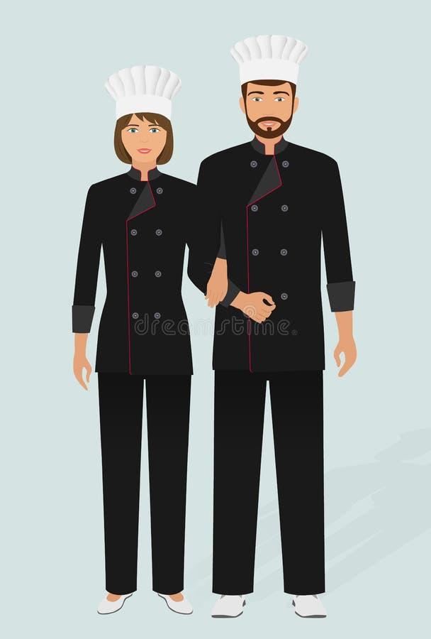 Cozinheiro chefe e cozinheiro do restaurante no uniforme Pares de caráteres do pessoal de serviço da restauração Bandeira de acol ilustração royalty free
