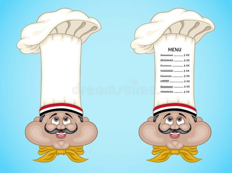 Cozinheiro chefe e menu egípcios no chapéu com alimento de Egito ilustração do vetor