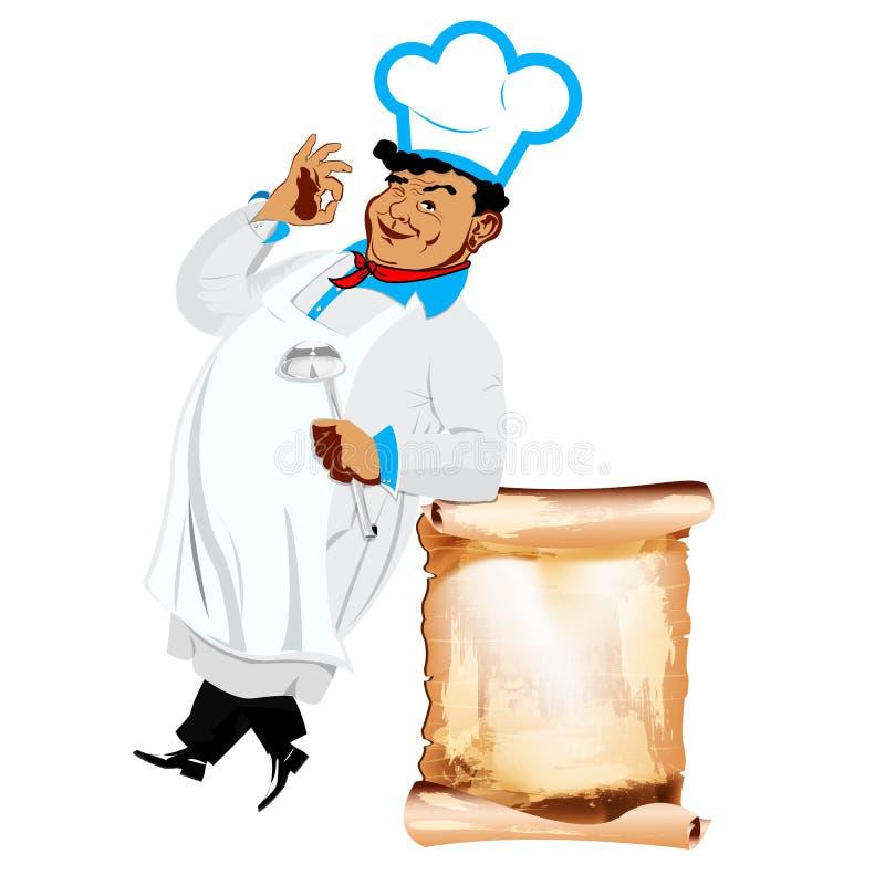 Cozinheiro chefe e menu felizes engraçados ilustração do vetor