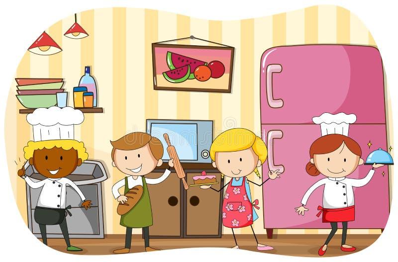 Cozinheiro chefe e padeiros que trabalham na cozinha ilustração royalty free