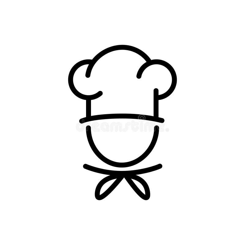 Cozinheiro chefe em um conceito de cozimento do alimento do ícone do esboço do vetor do chapéu para o projeto gráfico, logotipo,  ilustração royalty free