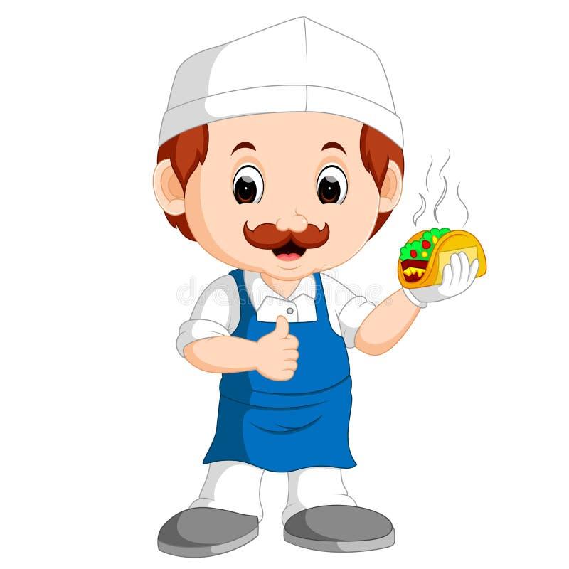 Cozinheiro chefe engraçado bonito dos desenhos animados ilustração royalty free