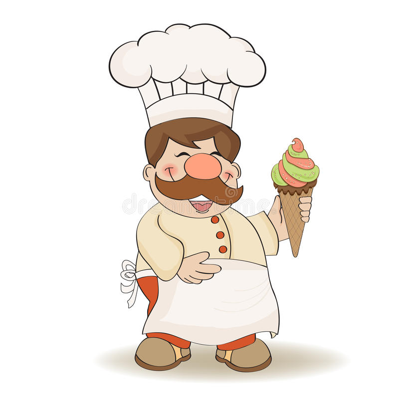 Cozinheiro chefe engraçado com gelado ilustração royalty free