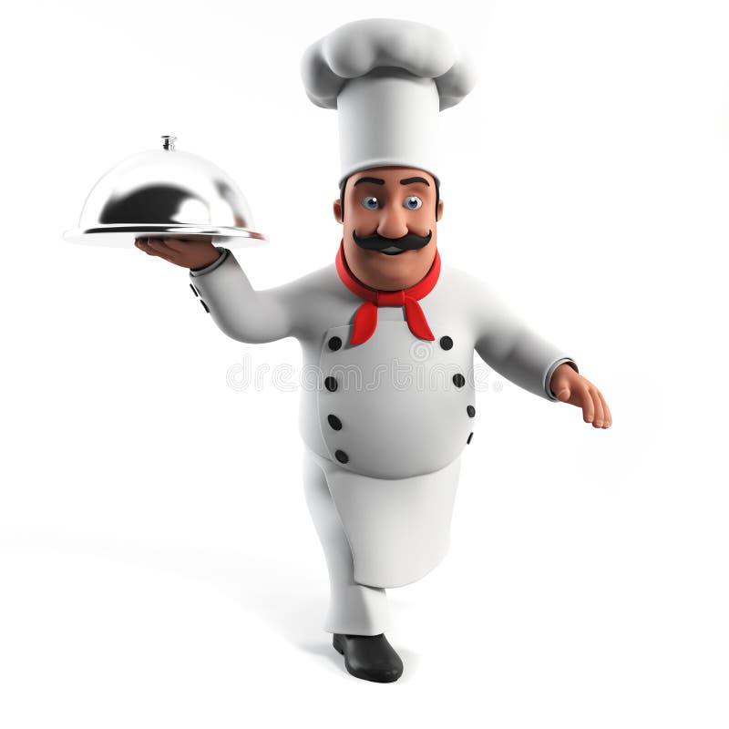 Cozinheiro chefe engraçado da cozinha ilustração royalty free