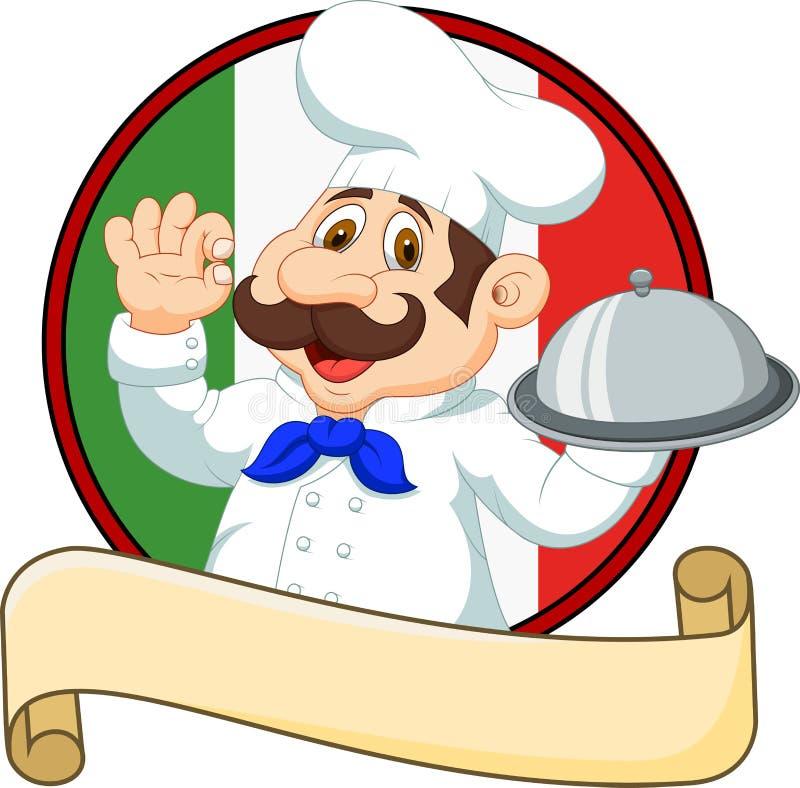 Cozinheiro chefe engraçado dos desenhos animados com um bigode que guarda uma bandeja de prata ilustração royalty free