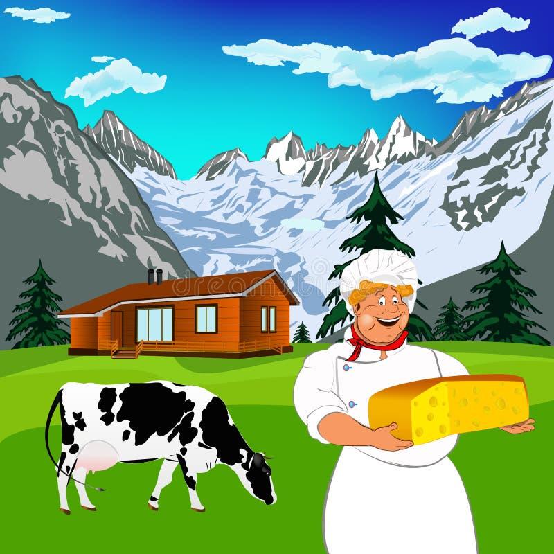 Cozinheiro chefe engraçado e queijo suíço natural da leiteria ilustração stock