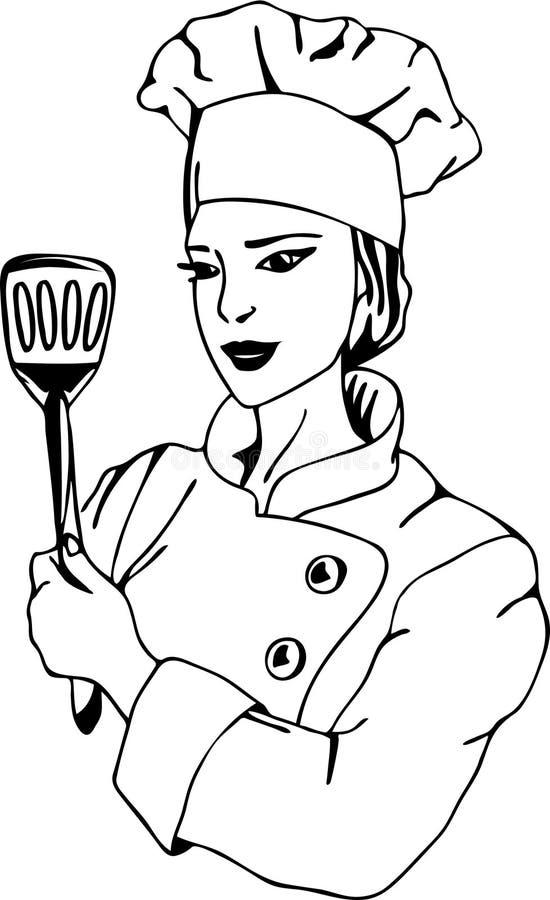 Cozinheiro chefe fêmea ilustração royalty free