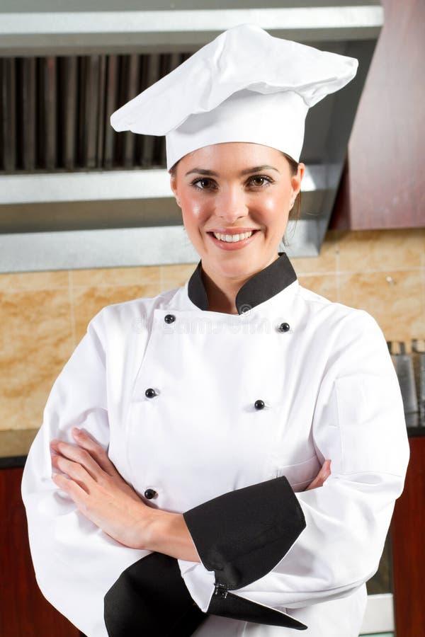 Cozinheiro chefe fêmea fotografia de stock royalty free
