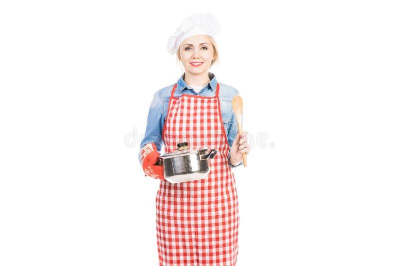 Cozinheiro chefe fêmea bonito fotos de stock