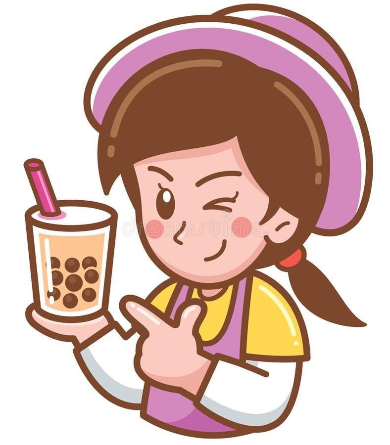 Cozinheiro chefe fêmea dos desenhos animados ilustração royalty free