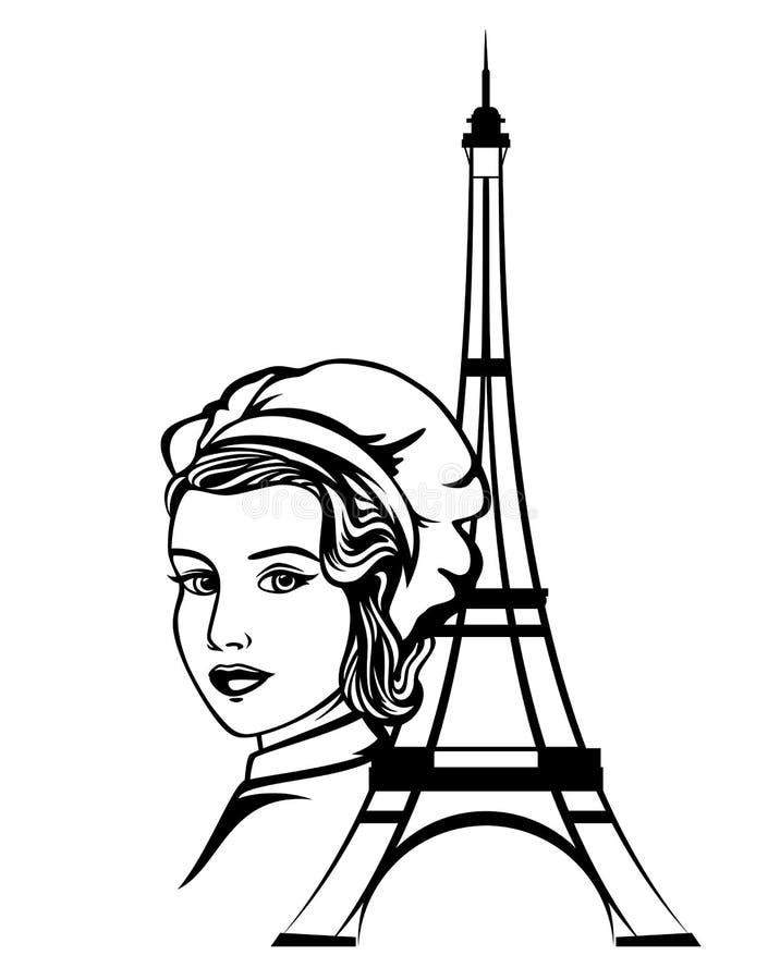 Cozinheiro chefe fêmea em Paris - retrato preto do vetor ilustração do vetor