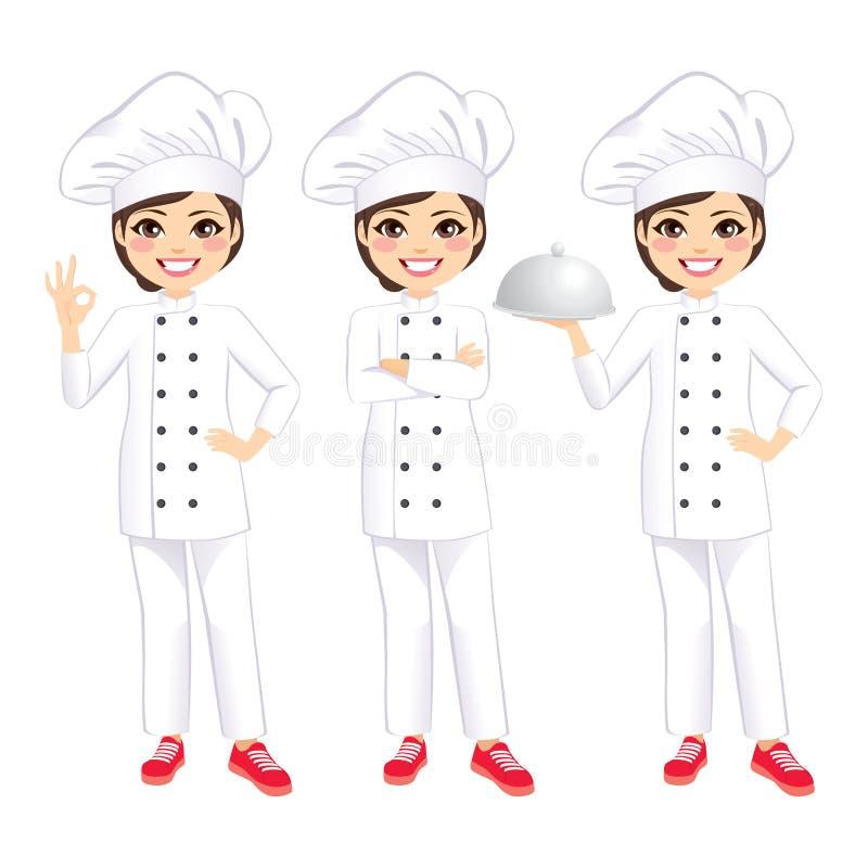 Cozinheiro chefe fêmea feliz ilustração royalty free