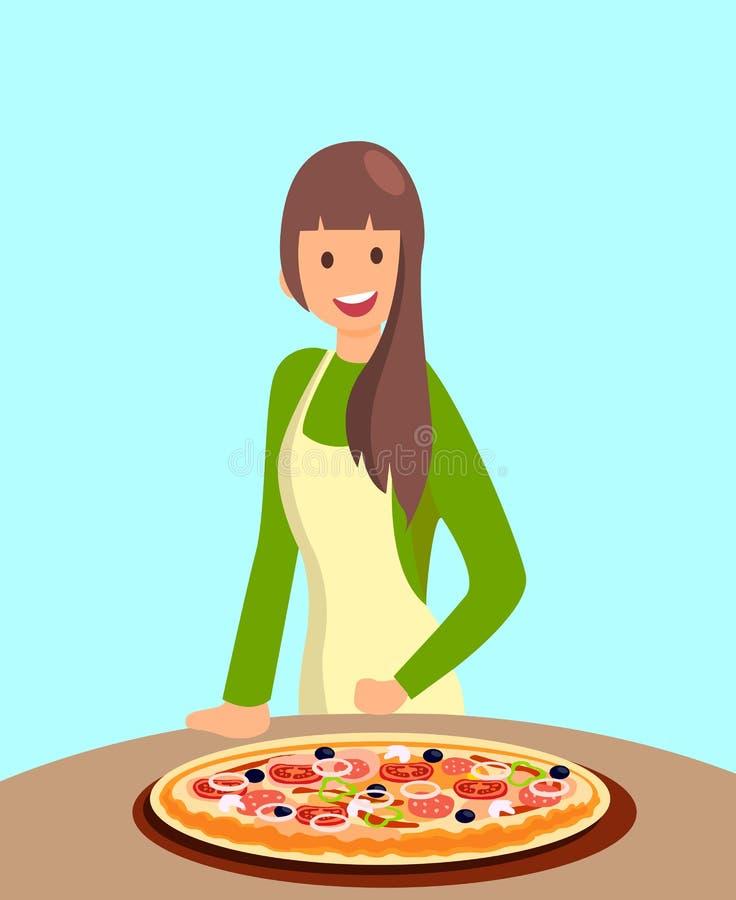 Cozinheiro chefe fêmea Offering Pizza Illustration do restaurante ilustração stock