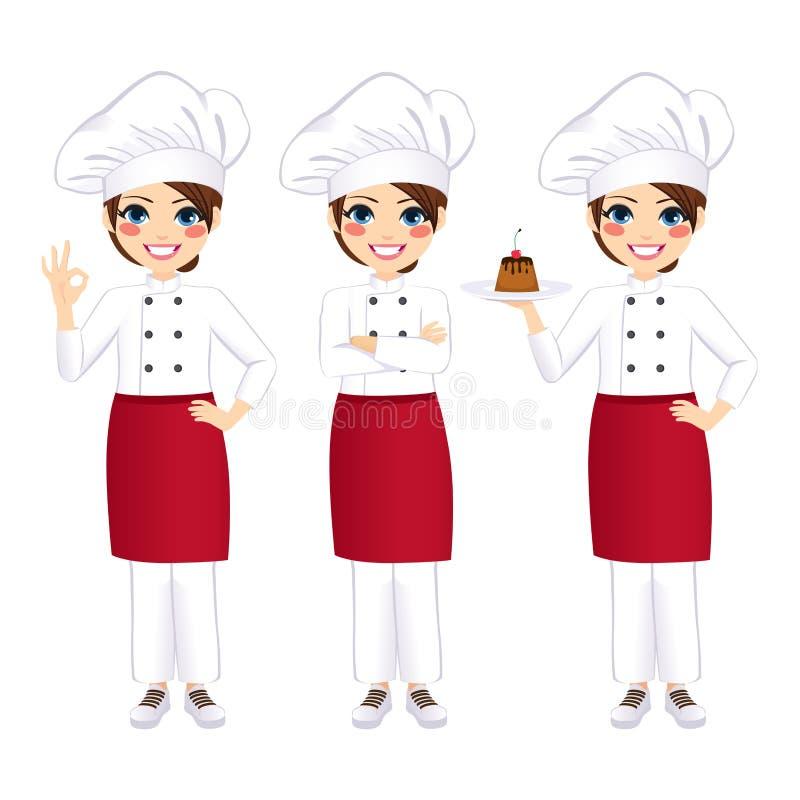 Cozinheiro chefe fêmea profissional Standing ilustração royalty free