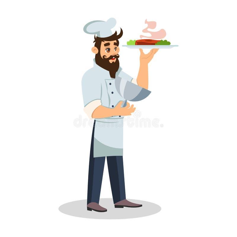 Cozinheiro chefe farpado no tampão do cozinheiro que mantém a bandeja para a reunião quente ilustração royalty free