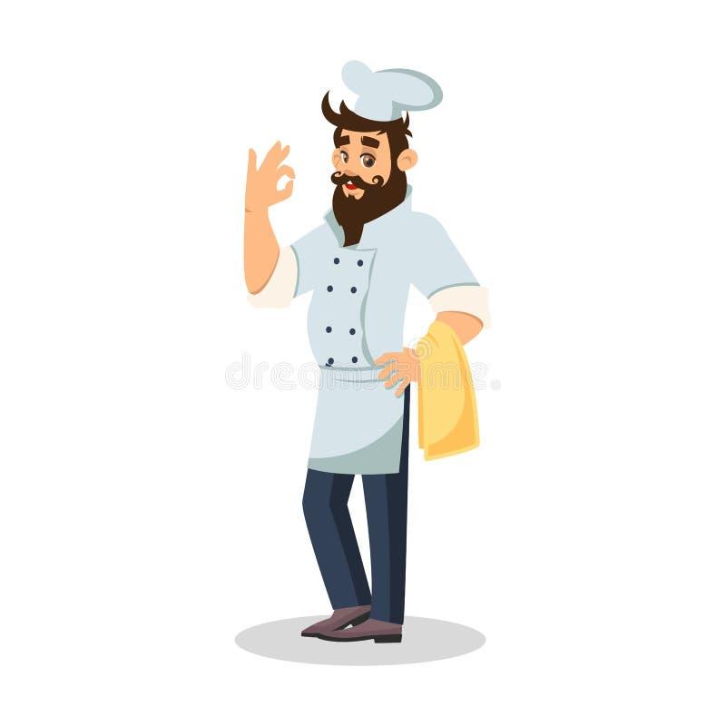 Cozinheiro chefe farpado no tampão do cozinheiro que mantém a toalha e que mostra o sinal aprovado ilustração royalty free