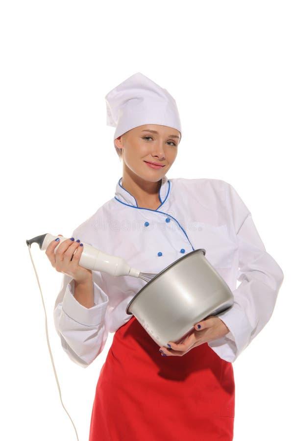 Cozinheiro chefe feliz da mulher com misturador e potenciômetro imagem de stock royalty free