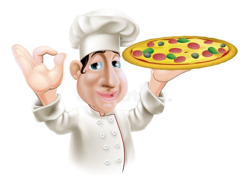 Cozinheiro chefe feliz da pizza ilustração stock