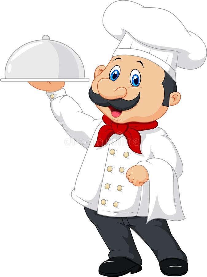 Cozinheiro chefe feliz dos desenhos animados que guarda uma bandeja de prata ilustração royalty free