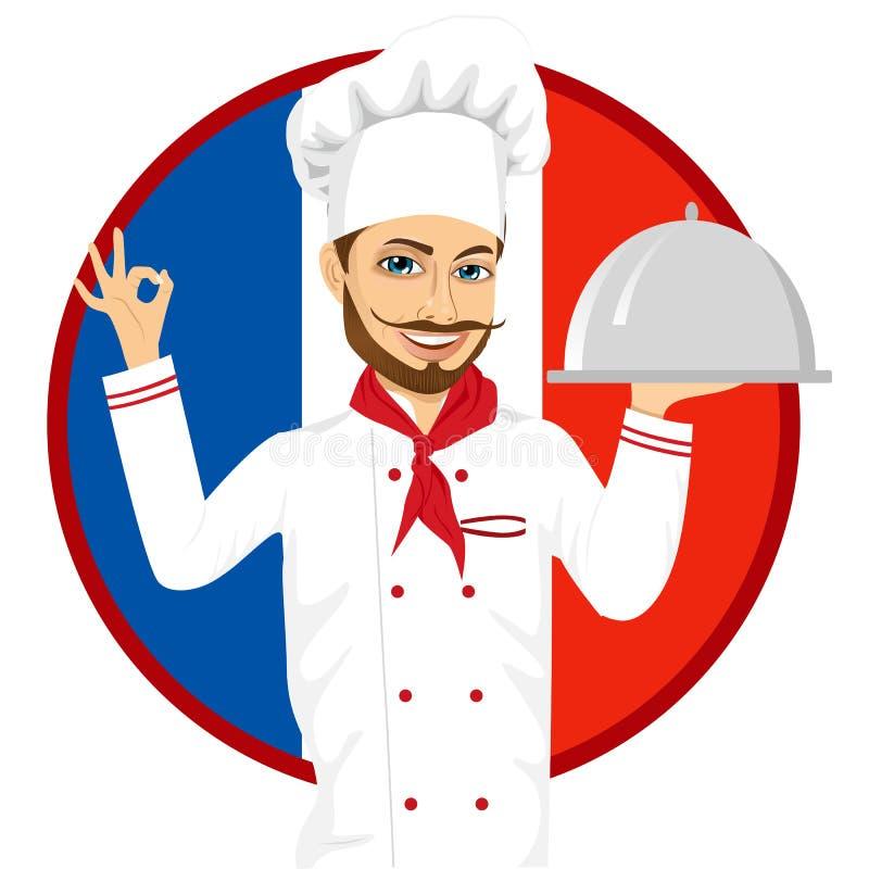 Cozinheiro chefe francês da culinária com o bigode grande engraçado ilustração stock