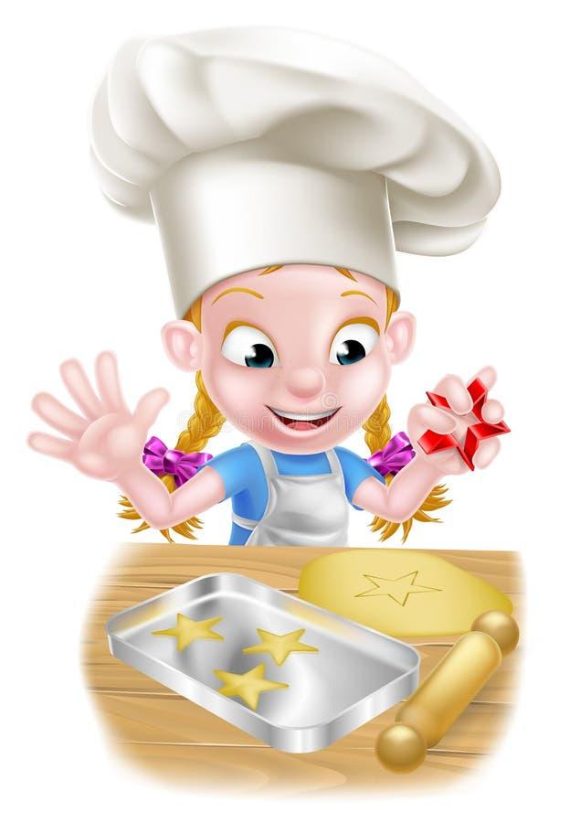 Cozinheiro chefe Girl Baking dos desenhos animados ilustração stock