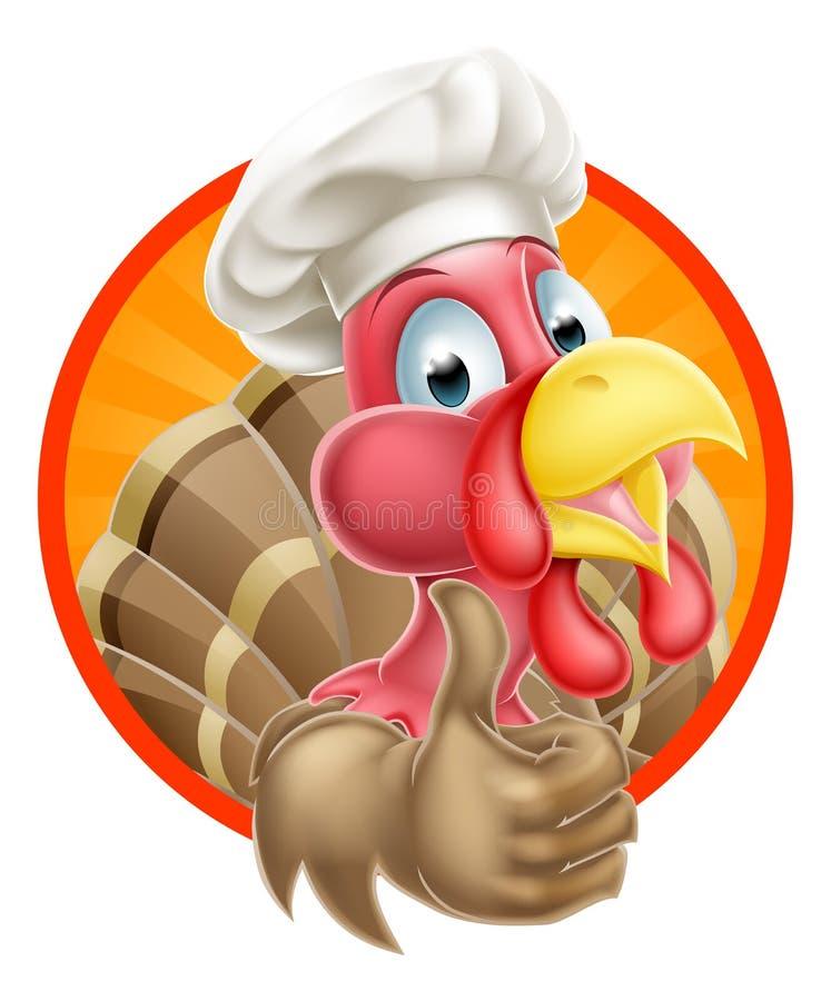Cozinheiro chefe Hat Turkey dos desenhos animados ilustração royalty free